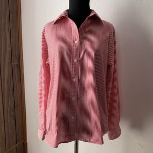 Foxcroft Red/White Striped Wrinkle Free Shirt Sz 4